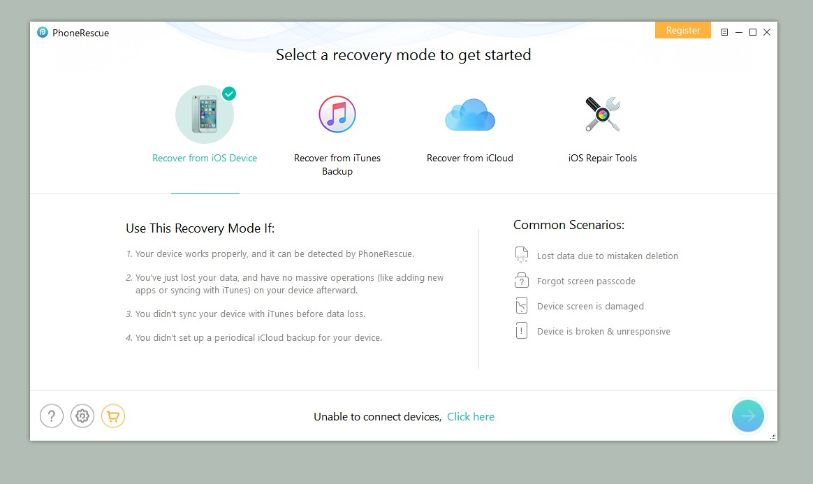 how to open phonerescue for ios