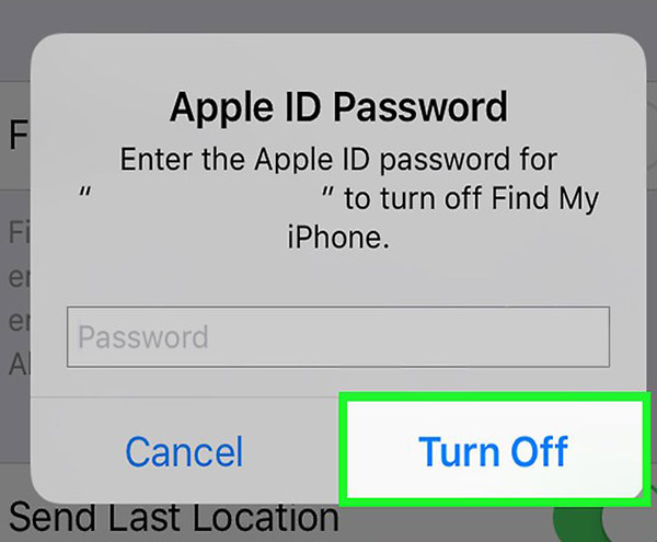 how to turn off find my iphone without entering apple id