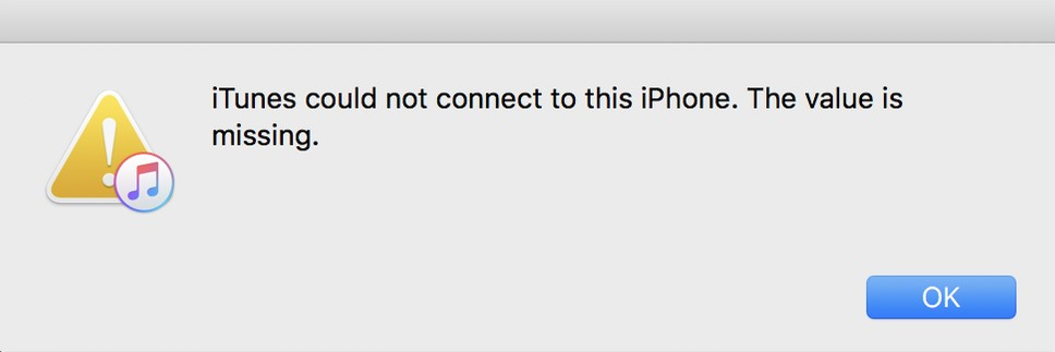 itunes could not connect value is missing error