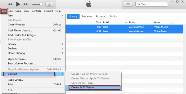 convert to mp3 on iTunes