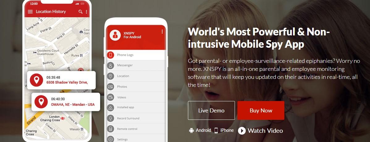 xnspy non intrusive mobile spy app